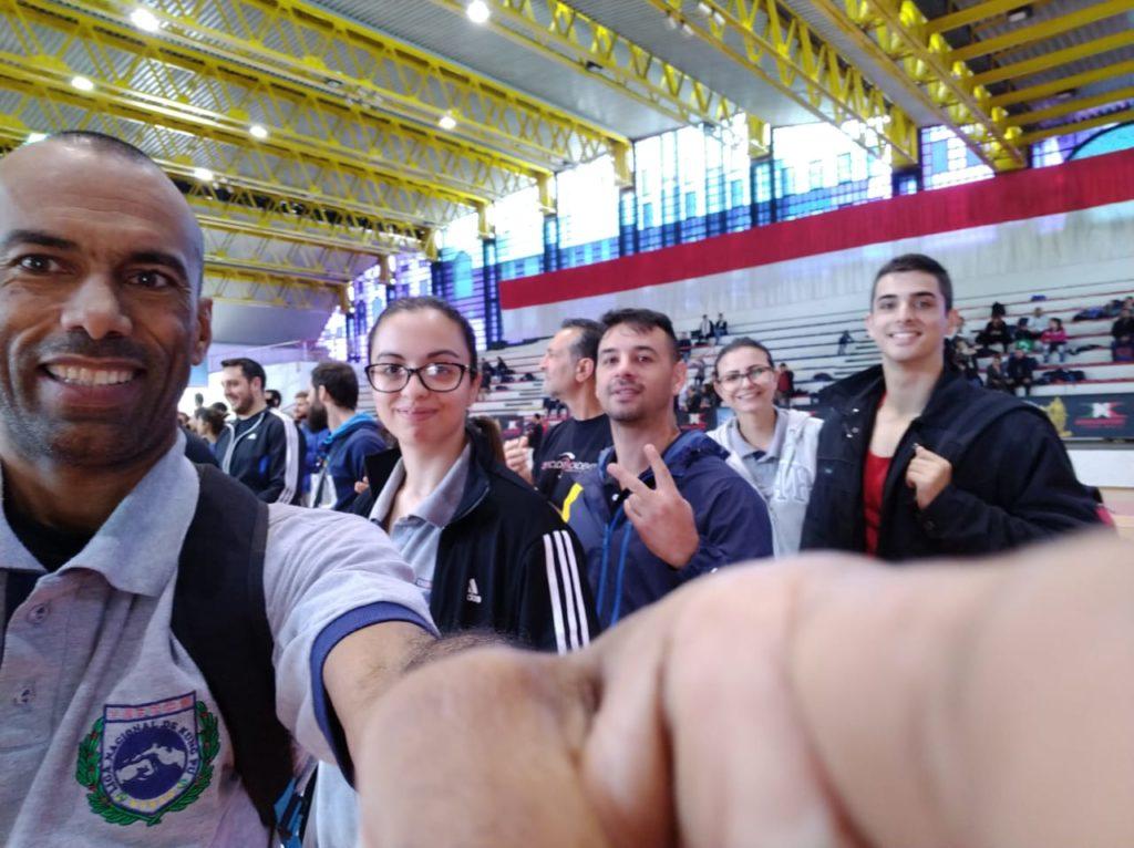 atletas brasileiros participando da abertura do campeonato na Itália